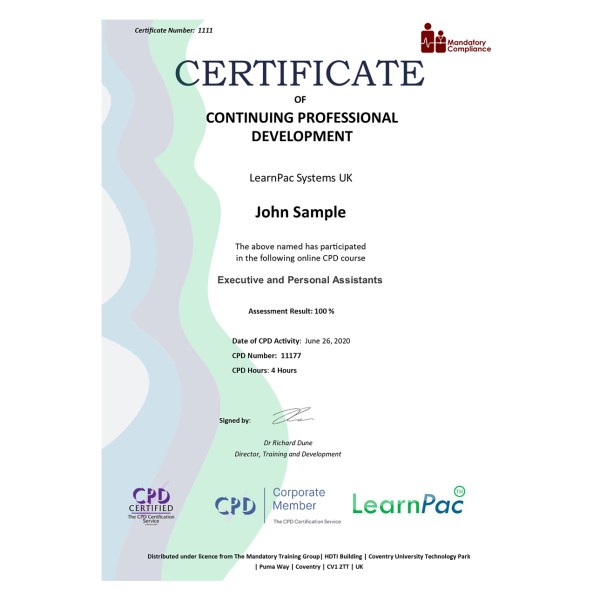 Executive and Personal Assistants – eLearning Course – CPD Certified – Mandatory Compliance UK –