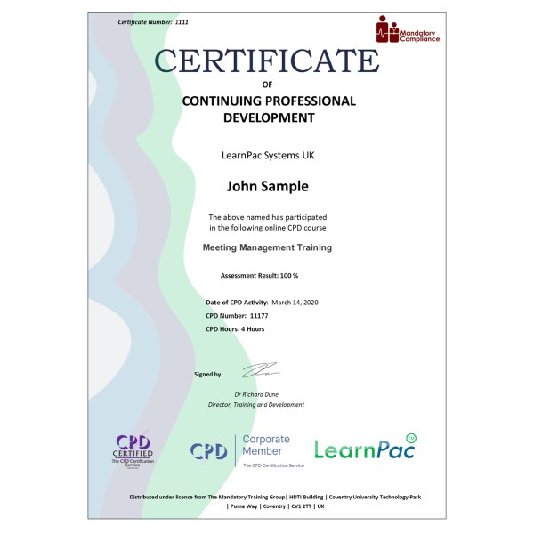Meeting Management Training – eLearning Course – CPD Certified – Mandatory Compliance UK –