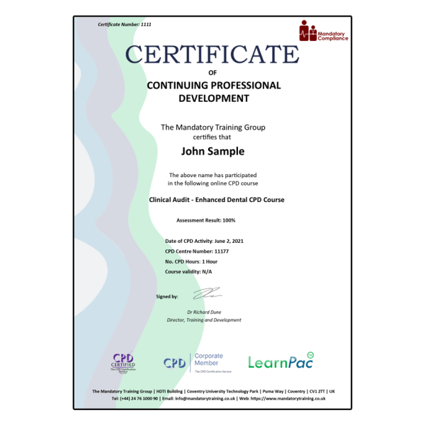 Clinical Audit – Enhanced Dental CPD Course – eLearning Course – CPD Certified – Mandatory Compliance UK –