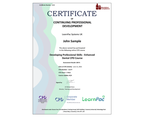 Developing Professional Skills – Enhanced Dental CPD Course – eLearning Course – CPD Certified – Mandatory Compliance UK –