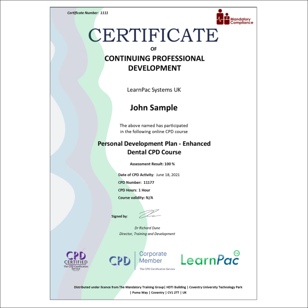 Personal Development Plan – Enhanced Dental CPD Course – eLearning Course – CPD Certified – Mandatory Compliance UK –
