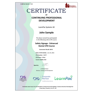 Safety Signage - Enhanced Dental CPD Course - eLearning Course - CPD Certified - Mandatory Compliance UK -