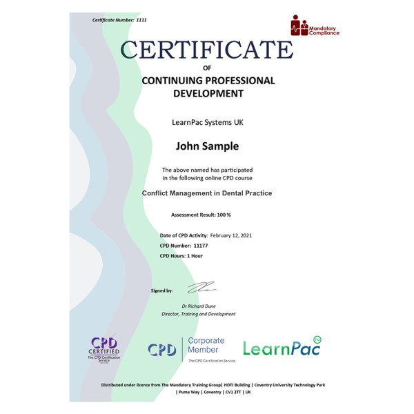 Conflict Management in Dental Practice – eLearning Course – CPD Certified – Mandatory Compliance UK –