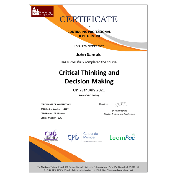 Critical Thinking and Decision Making – eLearning Course – CPD Certified – Mandatory-Compliance UK –