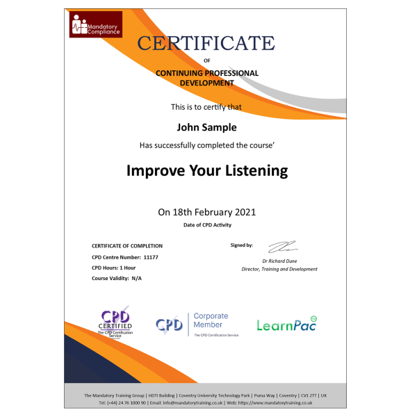 Improve Your Listening Skills – Online Training Course – CPD Accredited – Mandatory Compliance UK —