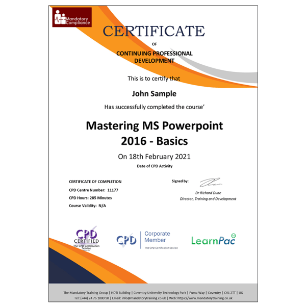 Mastering MS Powerpoint 2016 – Basics – E-Learning Course – CPD Certified – Mandatory Compliance UK –