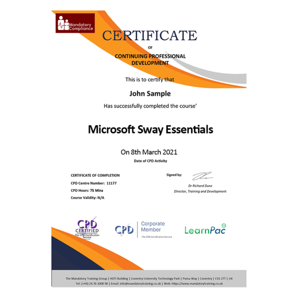 Microsoft Sway Essentials – eLearning Course – CPD Certified – Mandatory Compliance UK -1