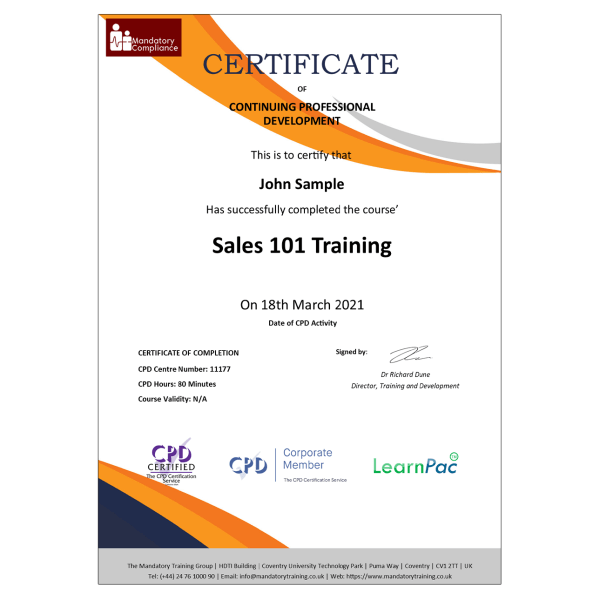 Sales 101 Training – eLearning Course – CPD Certified – Mandatory Compliance UK –