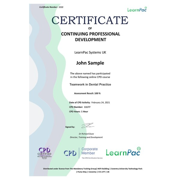 Teamwork Training – E-Learning Course – CDPUK Accredited – LearnPac Systems –