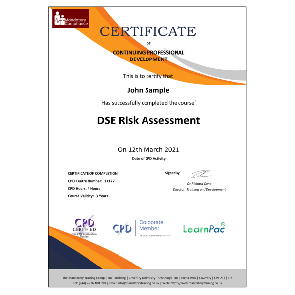 DSE Risk Assessment – eLearning Course – CPD Certified – Mandatory Compliance UK – (1)