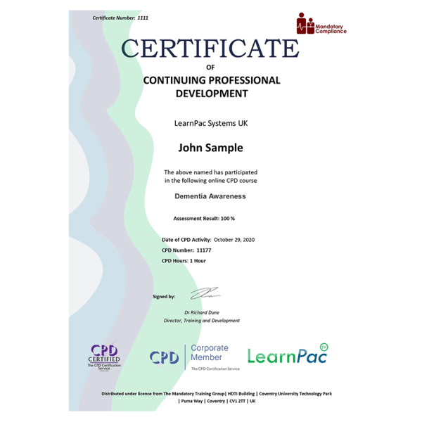 Dementia Awareness – Level 2 – eLearning Course – CPD Certified – Mandatory Compliance UK –