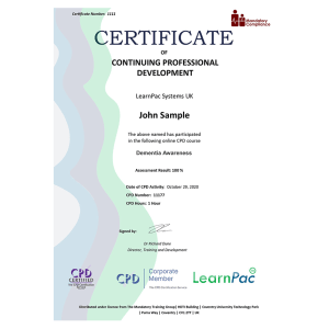 Dementia Awareness - Level 2 - eLearning Course - CPD Certified - Mandatory Compliance UK -
