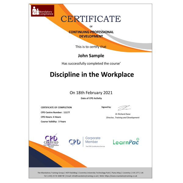 Discipline in the Workplace – Online Training Course – CPD Accredited – Mandatory Compliance UK —
