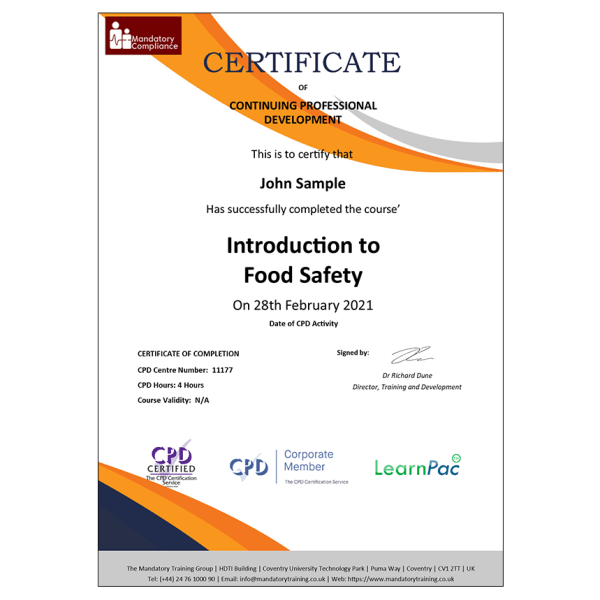 Introduction to Food Safety – E-Learning Course – CPDUK Certified – Mandatory Compliance UK –
