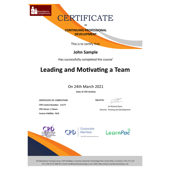 Leading and Motivating a Team – eLearning Course – CPD Certified – Mandatory-Compliance UK –