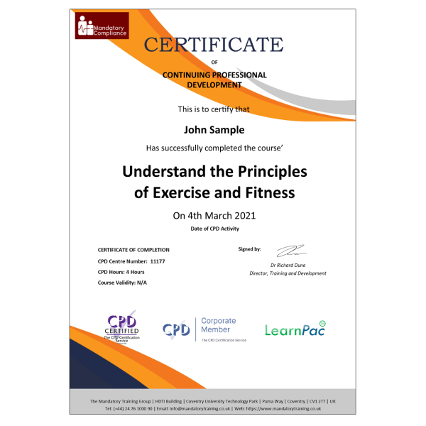 Understand the Principles of Exercise and Fitness – eLearning Course – CPD Certified – Mandatory Compliance UK –