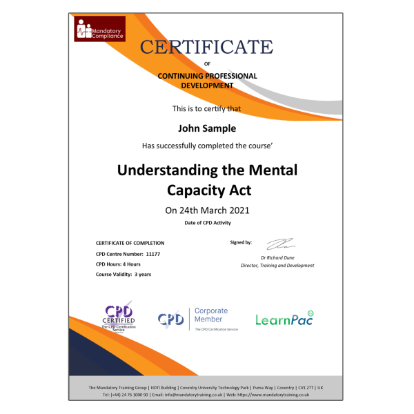 Understanding the Mental Capacity Act – eLearning Course – CPD Certified – Mandatory Compliance UK –