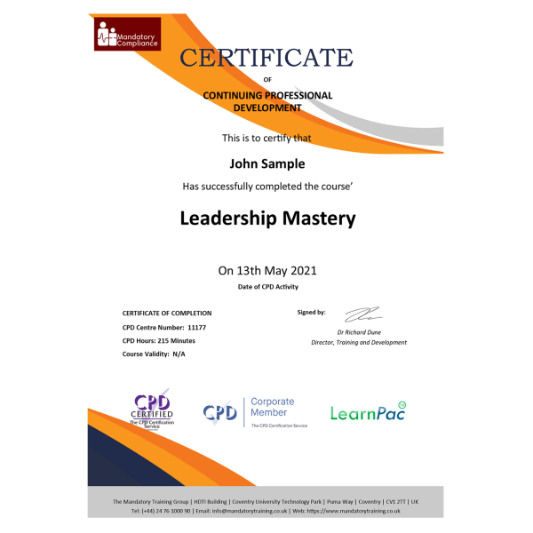 Leadership Mastery – eLearning Course – CPD Certified – Mandatory-Compliance UK –