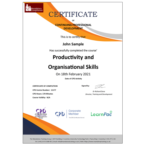 Productivity and Organisational Skills – E-Learning Courses – CPDUK Certified – Mandatory Compliance UK –