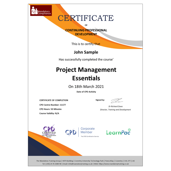 Project Management Essentials – eLearning Course – CPD Certified – Mandatory Compliance UK –