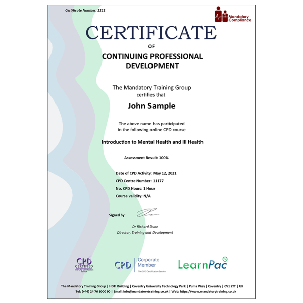 Introduction to Mental Health and Ill Health – eLearning Course – CPD Certified – Mandatory Compliance UK –