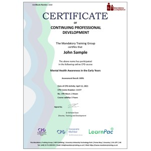 Mental Health Awareness in the Early Years - eLearning Course - CPD Certified - Mandatory Compliance UK -