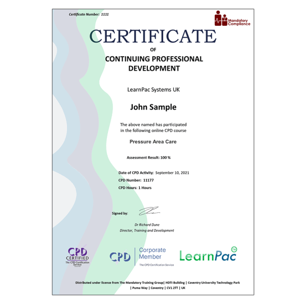 Pressure Area Care – E-Learning – Course – CDPUK Accredited – The Mandatory Compliance UK –