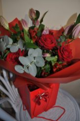 Lilies and Red Roses Hand-tied