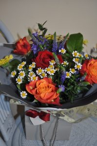 Florist Choice Mixed Flowers + Red Rose Hand-tied flowers