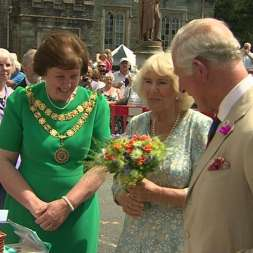 Duchess of Cornwall accepting her Royal Posy
