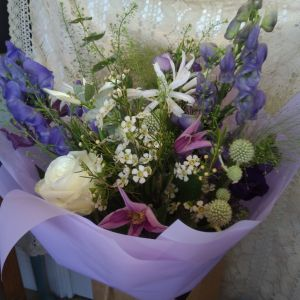 White & Purple Hand-tied