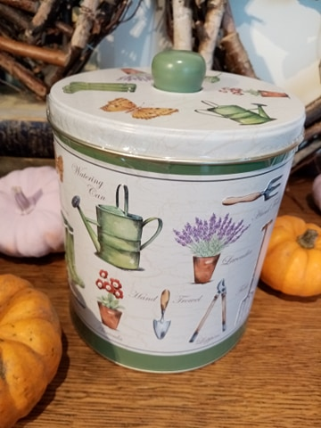 M & D Flowers biscuit tin