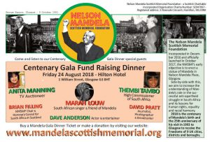 Mandela Gala Dinner 6.30pm – 12.30am Glasgow Hilton Hotel