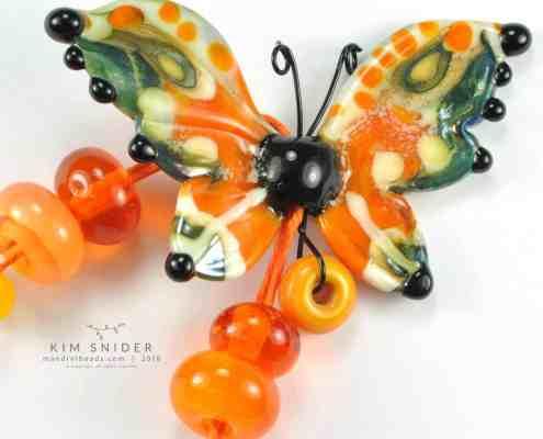 Butternut Glass Butterfly Bead by Kim Snider