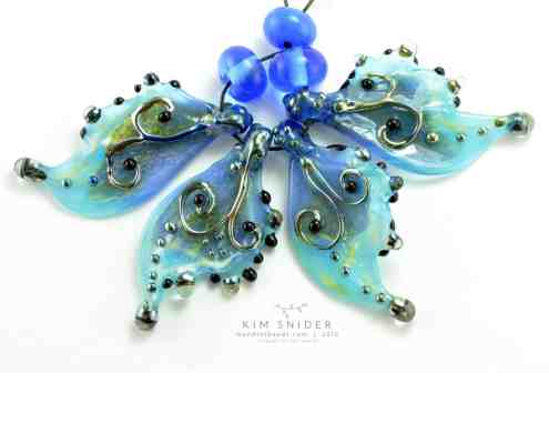 Pearl Blue Scroll Glass Butterfly Wing Beads by Kim Snider