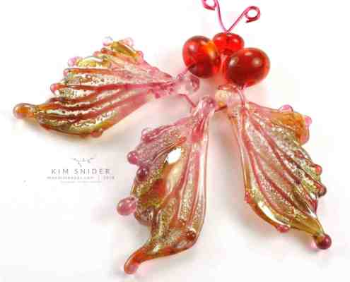 Rose Gold Lampwork Butterfly Wing Beads by Kim Snider