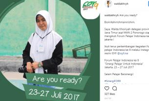 Walda Khoiriyah, Duta Pelajar Jawa Timur dalam Acara Forum Pelajar Indonesia ke-9 di Jakarta