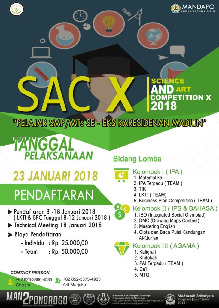 Science And Art Competition, SAC X 2018, MAN 2 Ponorogo