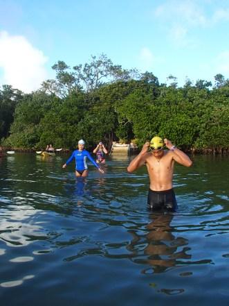 Finau, Noelani and Calina getting ready for their 5km swim across the lagoon