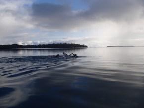 The squad set off across the lagoon to Mounu Island