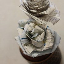 Hulme Women's Group, Recycled flowers made from old maps and books.