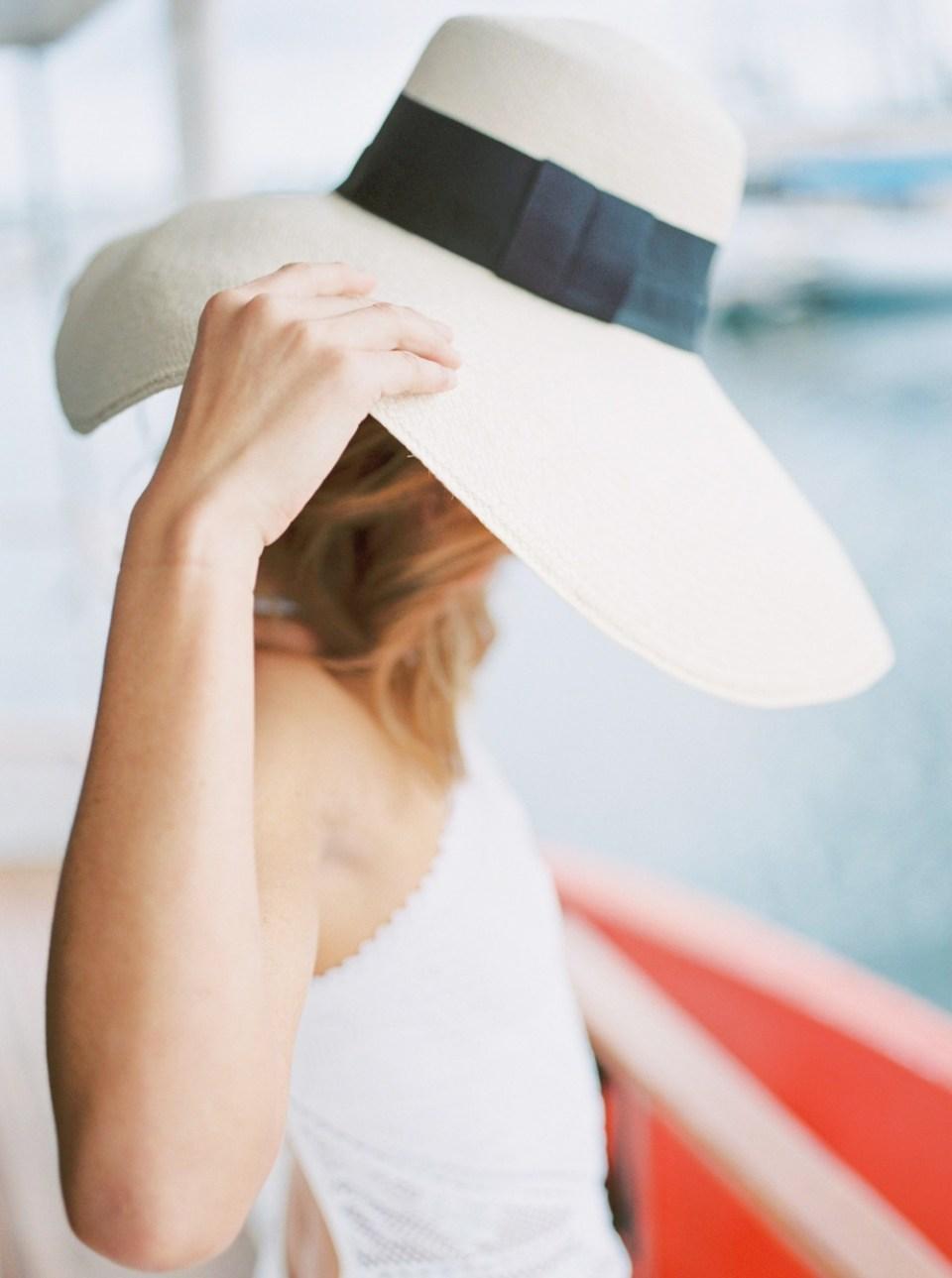 San Diego Film Photographer Floppy Hat On Sailboat