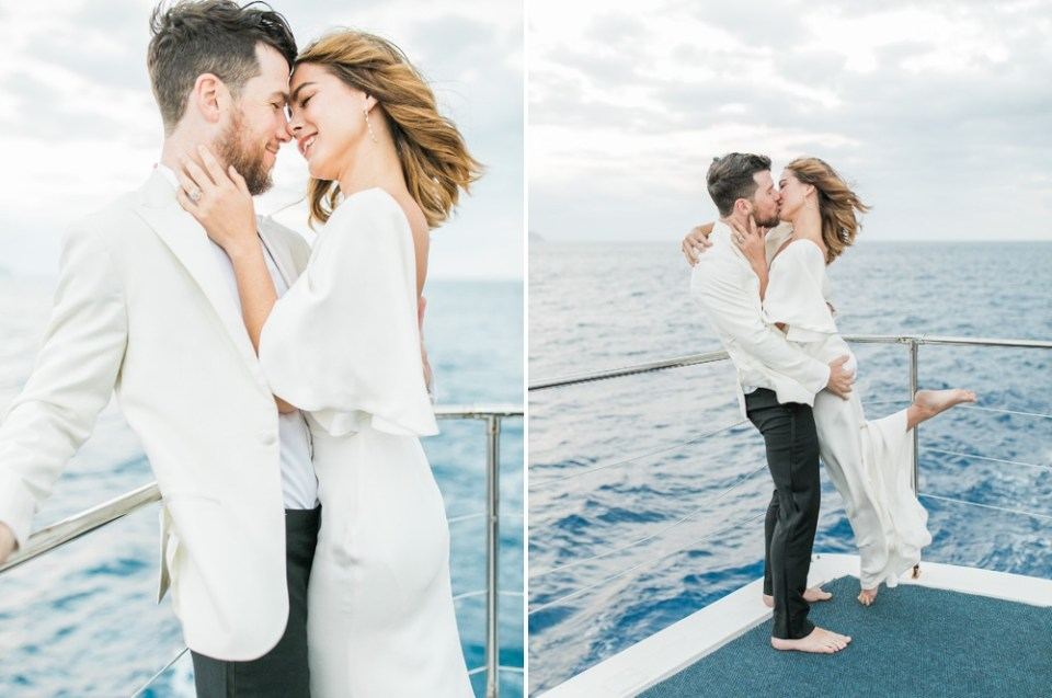 couple enjoying yacht rental in san diego Sarah Seven Gown