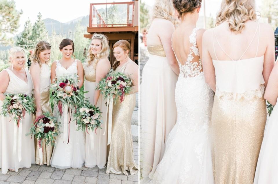 tannenbaum wedding, lake tahoe wedding venue, mountain wedding inspiration tannenbaum swoon bridesmaid dresses