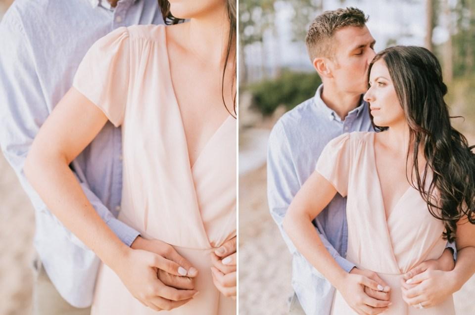 Lake Tahoe Engagement Session Before Gatekeeper's Museum Wedding blush dress