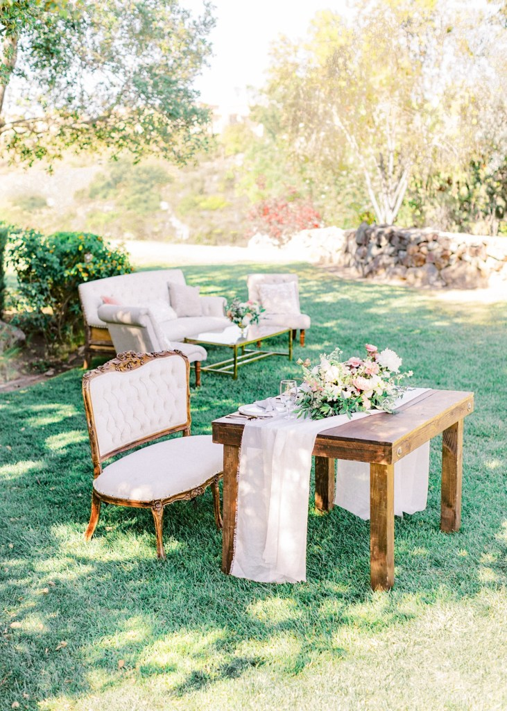 Ranch House At Del Sur Wedding In San Diego | Sweetheart Table