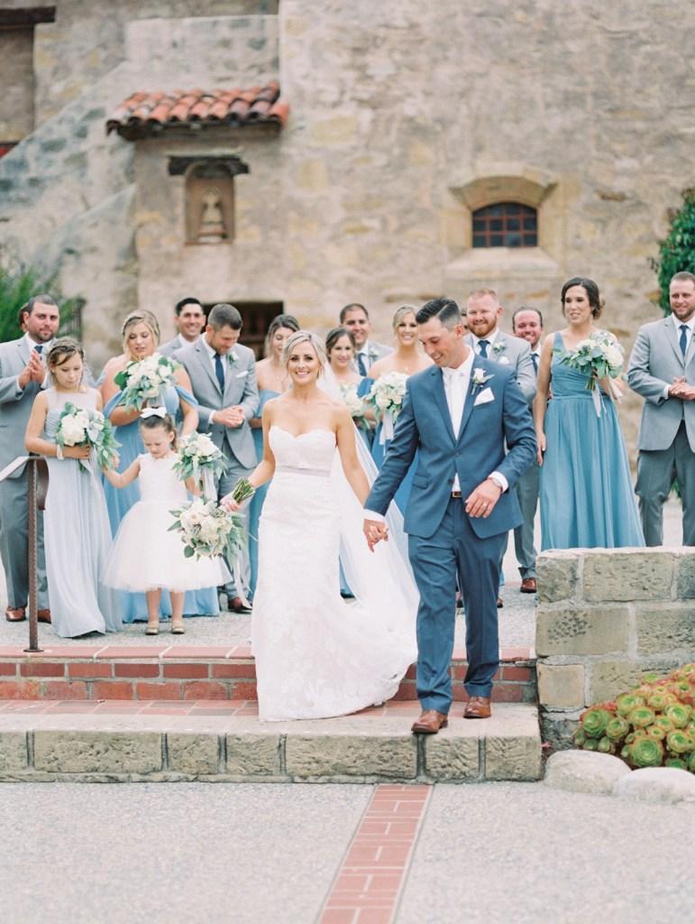 Bridal Party In Dusty Blue | Carmel Mission Monterey Wedding Venue
