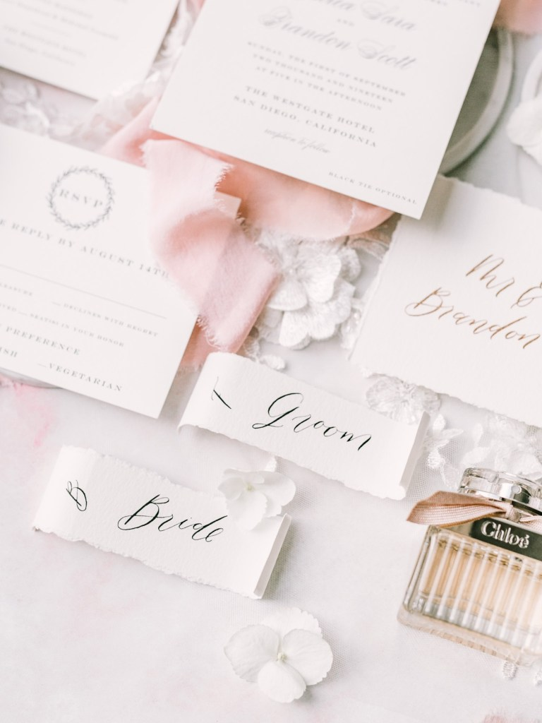 Westgate Hotel   Downtown San Diego Wedding Venue   Blush And Gold Wedding Invitations