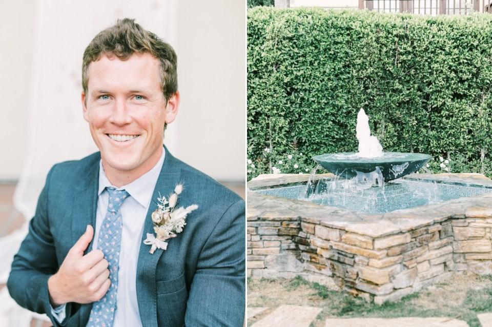Groom In front of fountain at Estancia La Jolla Wedding Venue In San Diego