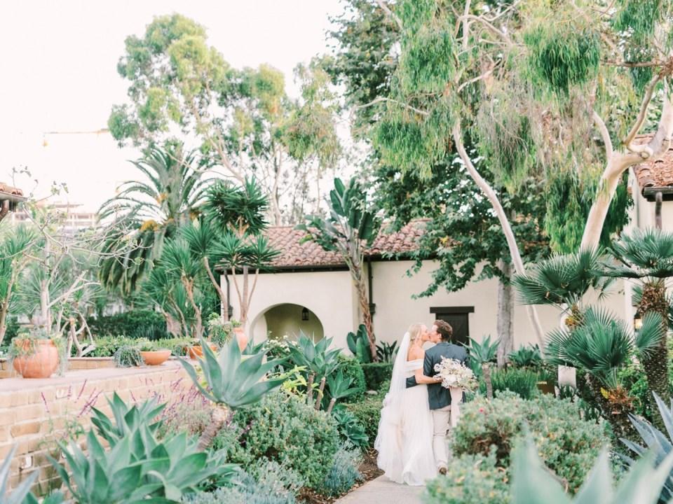 Couple In Desert Gardens At Estancia La Jolla Wedding Venue